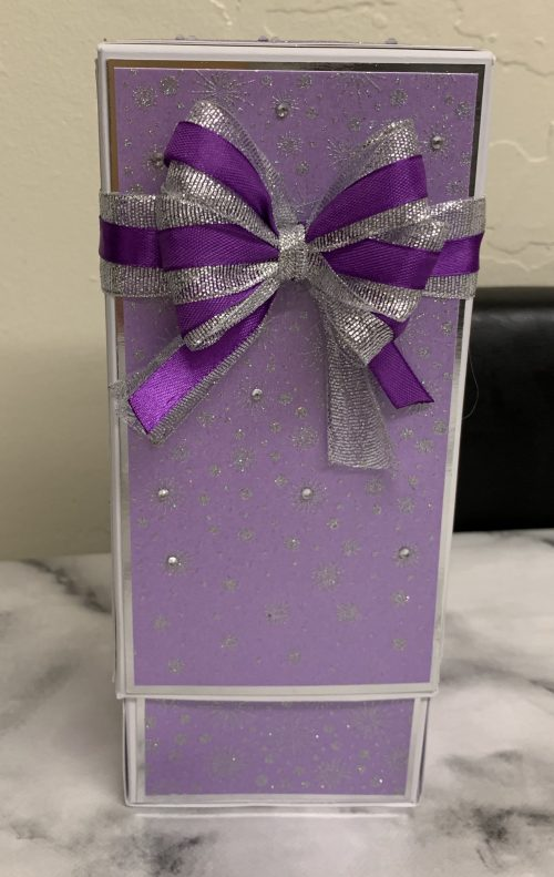 Box for Etched Vase in purple, silver and white