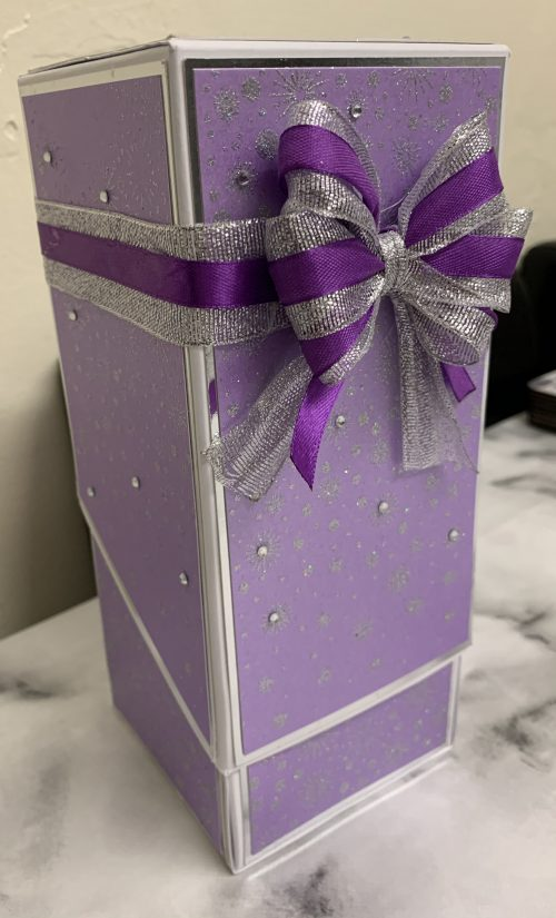 Decorative Box for Etched vase in purple, silver and white