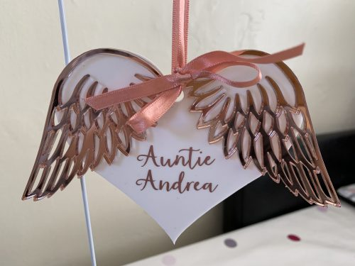 Rose gold winged bauble